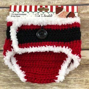 Other - Santa Crocheted Red, Black, & White Diaper Cover